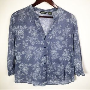Eddie Bower Floral Blue Burton Down Blouse XL